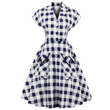ZAFUL 1960s Audrey Hepburn Vintage Dress Plus Size 4XL Plaid Print Women Party Dress Elegant Swing Rockabilly Feminino Vestidos