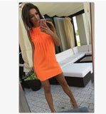 Sexy Women Dress Tassel Fluorescent Color Summer Casual Dress Sleeveless Slim Fit Mini Dress Lady Vestidos LJ4898R-Women's Dresses-EnsoStore-Orange-L-Enso Store
