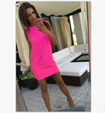 Sexy Women Dress Tassel Fluorescent Color Summer Casual Dress Sleeveless Slim Fit Mini Dress Lady Vestidos LJ4898R-Women's Dresses-EnsoStore-Pink-L-Enso Store