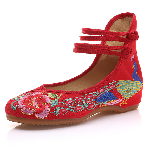 Vintage Embroidered Women Flats Old Beijing Mary Jane Ballet Flat Shoes Peacock Casual Cloth Shoes Woman Plus Size 43 - EnsoStore