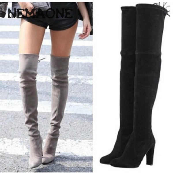 Women Stretch Faux Suede Thigh High Boots Sexy Fashion Over the Knee Boots High Heels Woman Shoes Black Gray Winered - EnsoStore