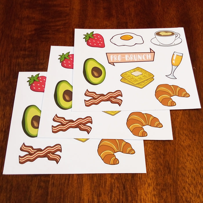 Breakfast Items and Brunch Sticker Set - 3 Pack