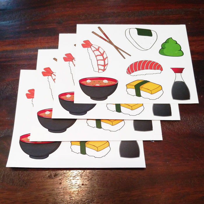 Japanese Sushi Bento and Miso Sticker Set - 4 Pack