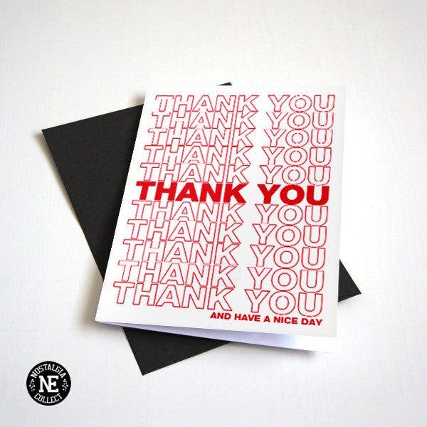 Thank You - Red & White Arial Black Font Thank You Card
