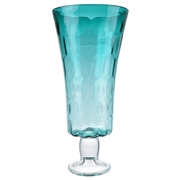 Aqua Footed Hurricane Vase Tall - full view