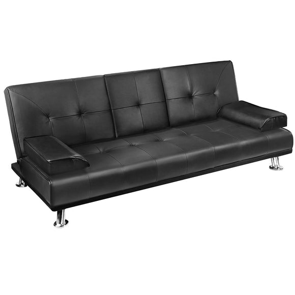 Cedric 3 Seater PU Leather Sofa Bed full view