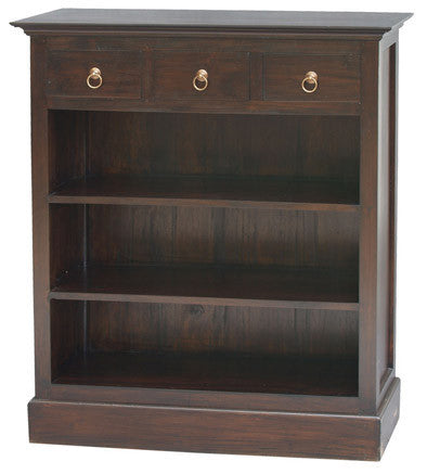 Tasmania Bookcase Low Profile 3 Shelves 3 Drawers Book Cabinet Chocolate Colour TEK168BC 003 PN