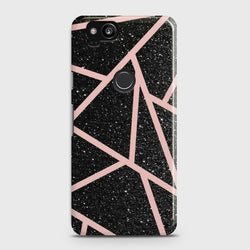 Google Pixel 2 Black Sparkle Glitter With RoseGold Lines Case - Phonecase.PK