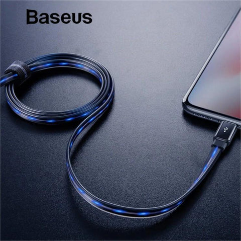 Baseus Flat Flowing LED Glow USB Lightning Cable For iPhone 2.4A - Phonecase.PK