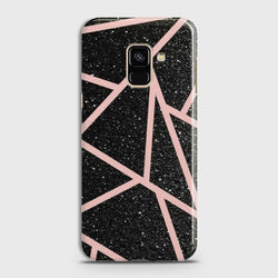 SAMSUNG GALAXY A8+ (2018) Black Sparkle Glitter With RoseGold Lines Case