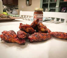 Pile of smoked chicken wings, awesome with all 3 of our sauces and dry rub!