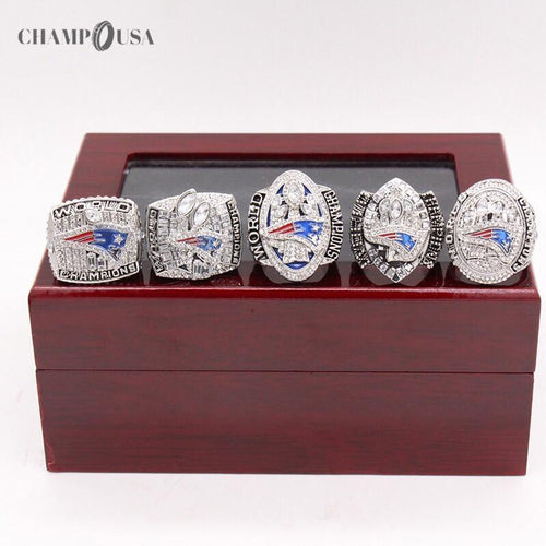 New England Patriots Championships 5 Rings Set (2001/2003/2004/2014/2017) - Champ Rings USA