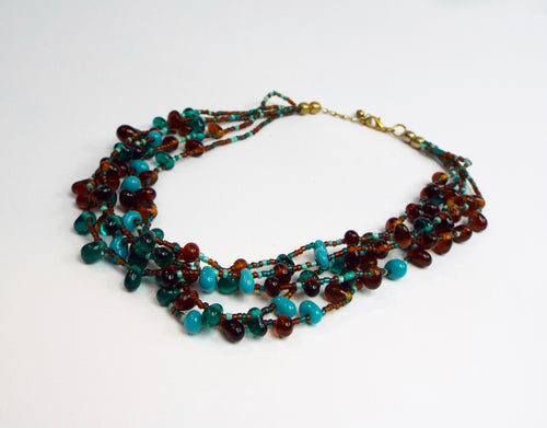 Turquoise and Brown 5 Strand Band