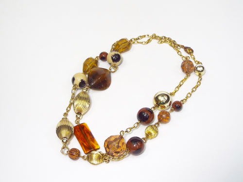 Wraparound gold/amber/brown necklace boot jewelry