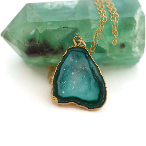 Druzy Necklace Blue Green 14k Gold Filled Chain - Sienna Grace Jewelry