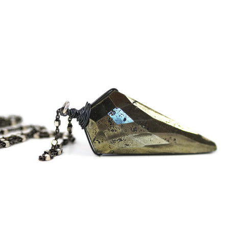 Natural Pyrite Faceted Kite Pendant Oxidized Sterling Silver - Sienna Grace Jewelry