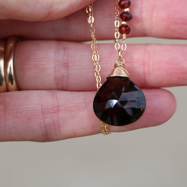 Smoky Quartz 14 k Gold Filled Pendant with Red Garnets - Sienna Grace Jewelry