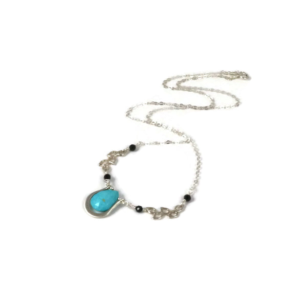 Turquoise and Black Spinel Sterling Silver Pendant - Sienna Grace Jewelry | Pretty Little Handcrafted Sparkles