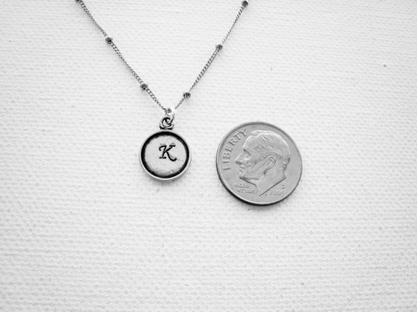 Tiny Initial Necklace Hand Stamped Personalized Sterling Silver - Sienna Grace Jewelry | Pretty Little Handcrafted Sparkles