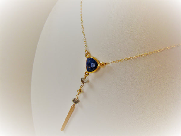As Seen on The Vampire Diaries Lapis Lazuli Y Necklace Gold Version - Sienna Grace Jewelry | Pretty Little Handcrafted Sparkles