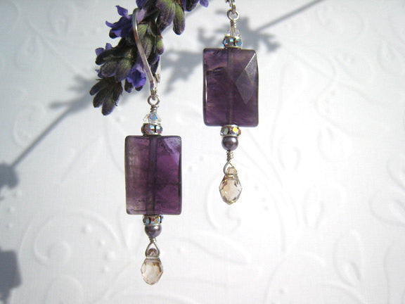 Purple Amethyst Natural Amethyst Earrings - Sienna Grace Jewelry | Pretty Little Handcrafted Sparkles