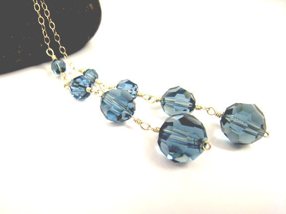 Blue Crystal Lariat Wire Wrapped Necklace - Sienna Grace Jewelry | Pretty Little Handcrafted Sparkles