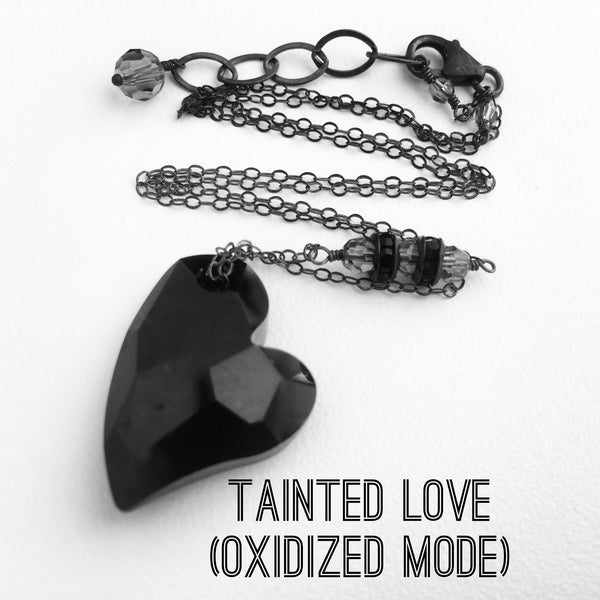 Anti Valentine Black Crystal Heart Necklace Tainted Love - Sienna Grace Jewelry | Pretty Little Handcrafted Sparkles