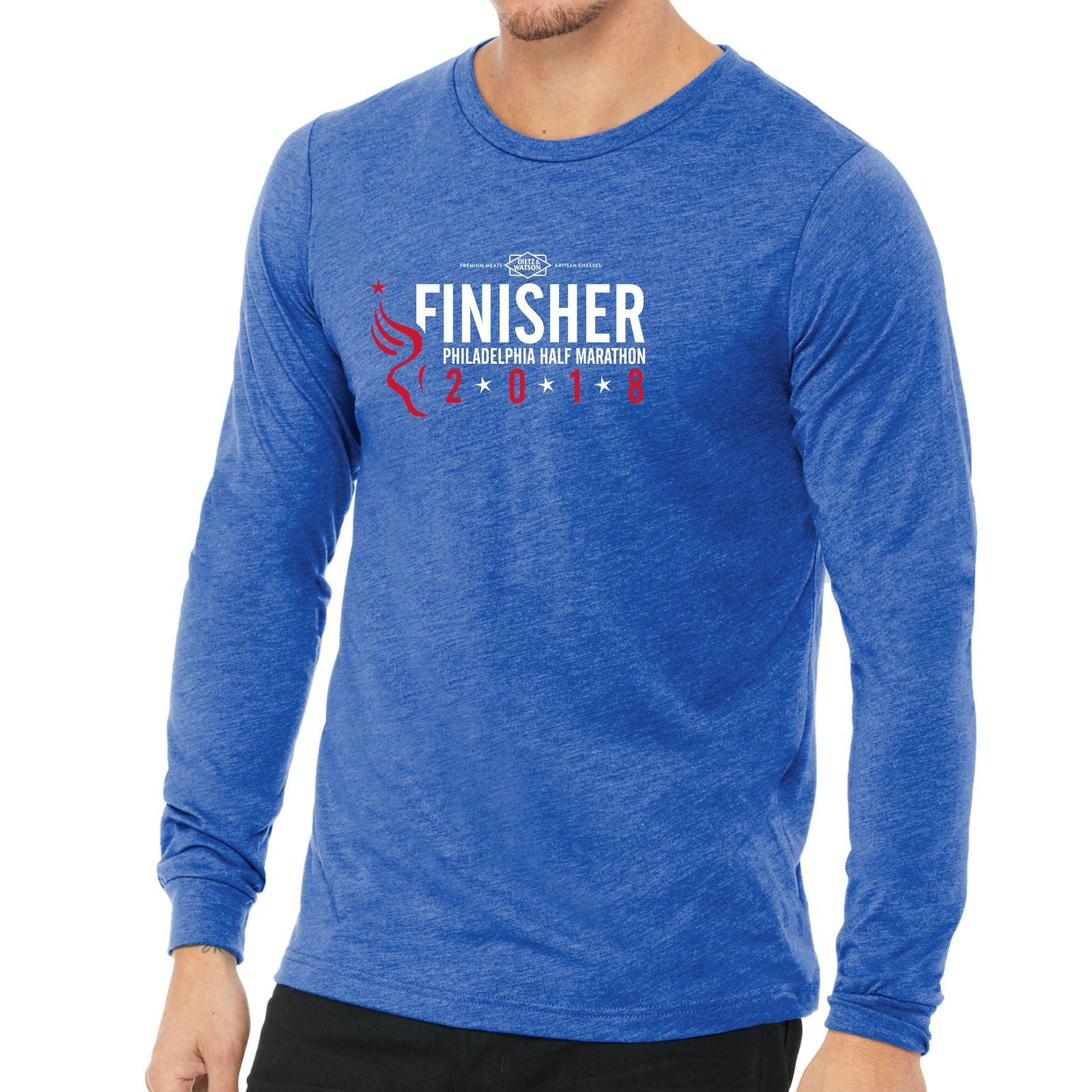 Dietz & Watson Philadelphia Half Marathon: '2018 Finisher 13.1' Men's LS Leisure Tee - True Royal Triblend