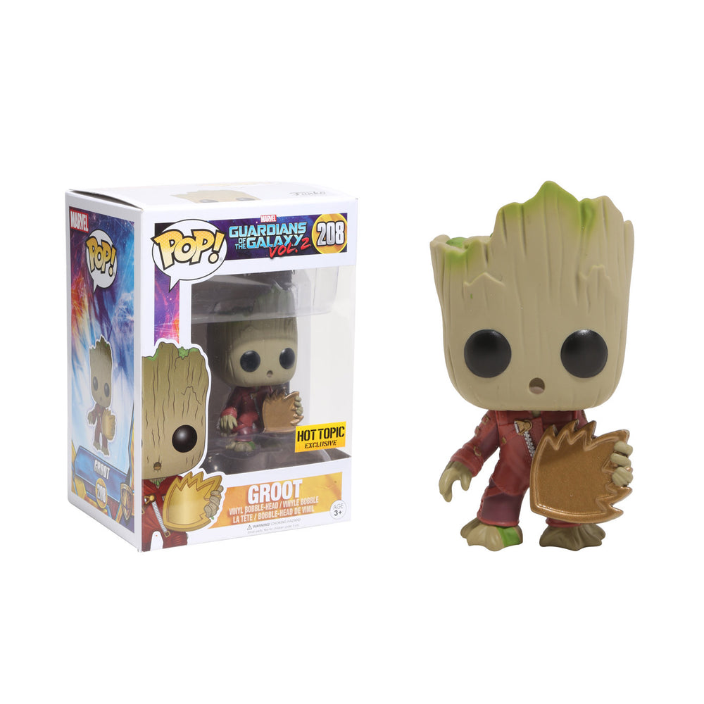 GUARDIANS OF THE GALAXY VOL. 2 GROOT With Shield FUNKO POP! VINYL FIGURE #208 HOT TOPIC EXCLUSIVE