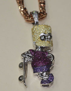 Silver Bart Simpson Pendant with CZ Stones - SD JEWELS