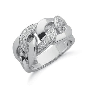 Silver Cz Chain Link Ring - SD JEWELS