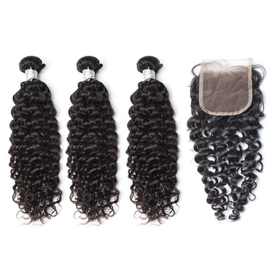 Luxury 10A Mink Deep Curly Hair 3 Bundles With 1 Pc Lace Closure