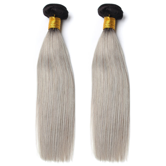 Luxury 10A 1B Gray Ombre Straight Hair 2 Bundles