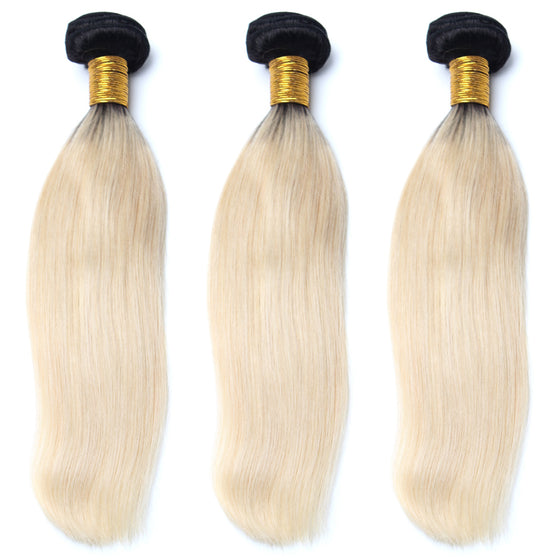 Luxury 10A 1B 613 Blonde Ombre Straight Hair 3 Bundles