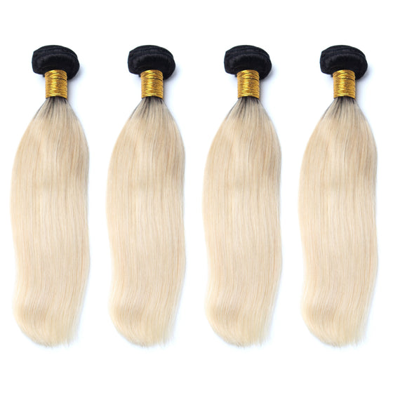 Luxury 10A 1B 613 Blonde Ombre Straight Hair 4 Bundles
