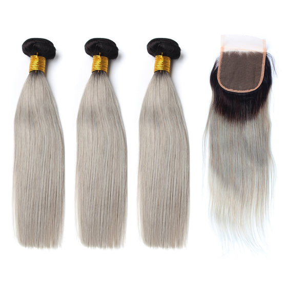 Luxury 10A 1B Gray Ombre Straight Hair 3 Bundles With 1 Pc Lace Closure