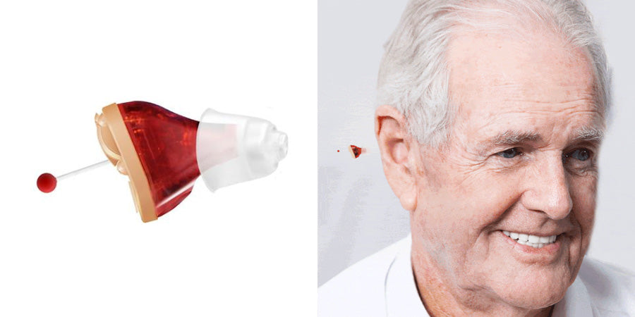 Old man wearing digital hearing aid
