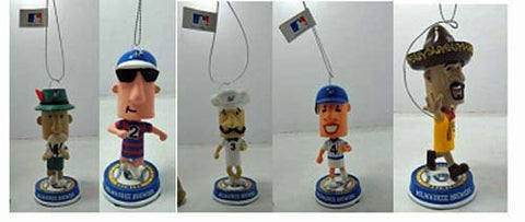 2014 Racing Sausage Set of 5 Holiday Ornaments Bobble head only 360 were made Forever collectibles Italian, Brat, Polish, Hot Dog and Chorzio Milwaukee Brewers Christmas Ornament