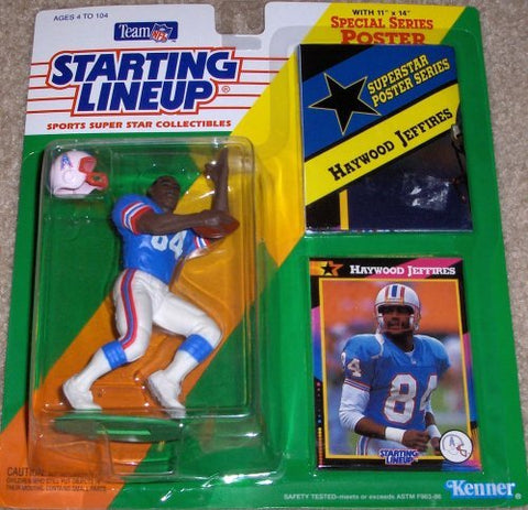 1992 Starting Lineup Sports Super Star Collectible Haywood Jeffires Action Figure with Bonus Poster Houston Oilers