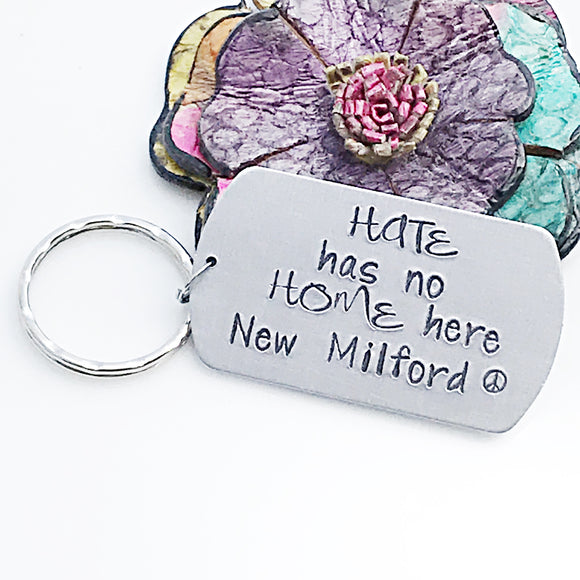 Hate Has No Home Here Custom New Milford Keychain - Lasting Impressions CT