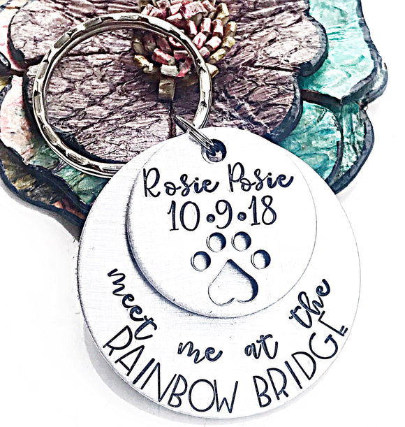 Meet Me At The Rainbow Bridge Hand Stamped Dog Memorial Keychain