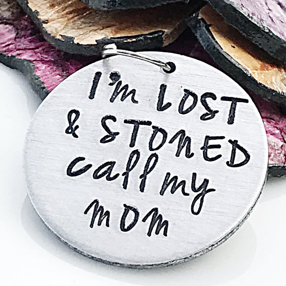 MATURE: Funny Hand Stamped Custom Dog ID Tag, I'm Lost and Stoned, Dog ID Tag, Dog Tag, Custom Dog Tag, Personalized Pet Tag