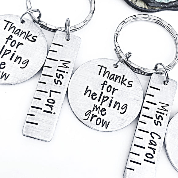 Teacher Ruler Keychain, Thanks for Helping Me Grow Keychain, Gift for Teacher, Elementary School Teacher, Preschool Teacher