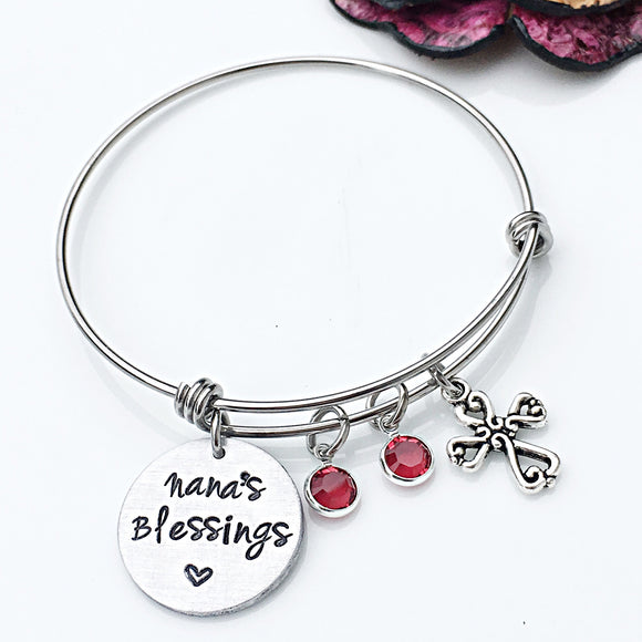 Nana's Blessings Hand Stamped Personalized Bangle Bracelet