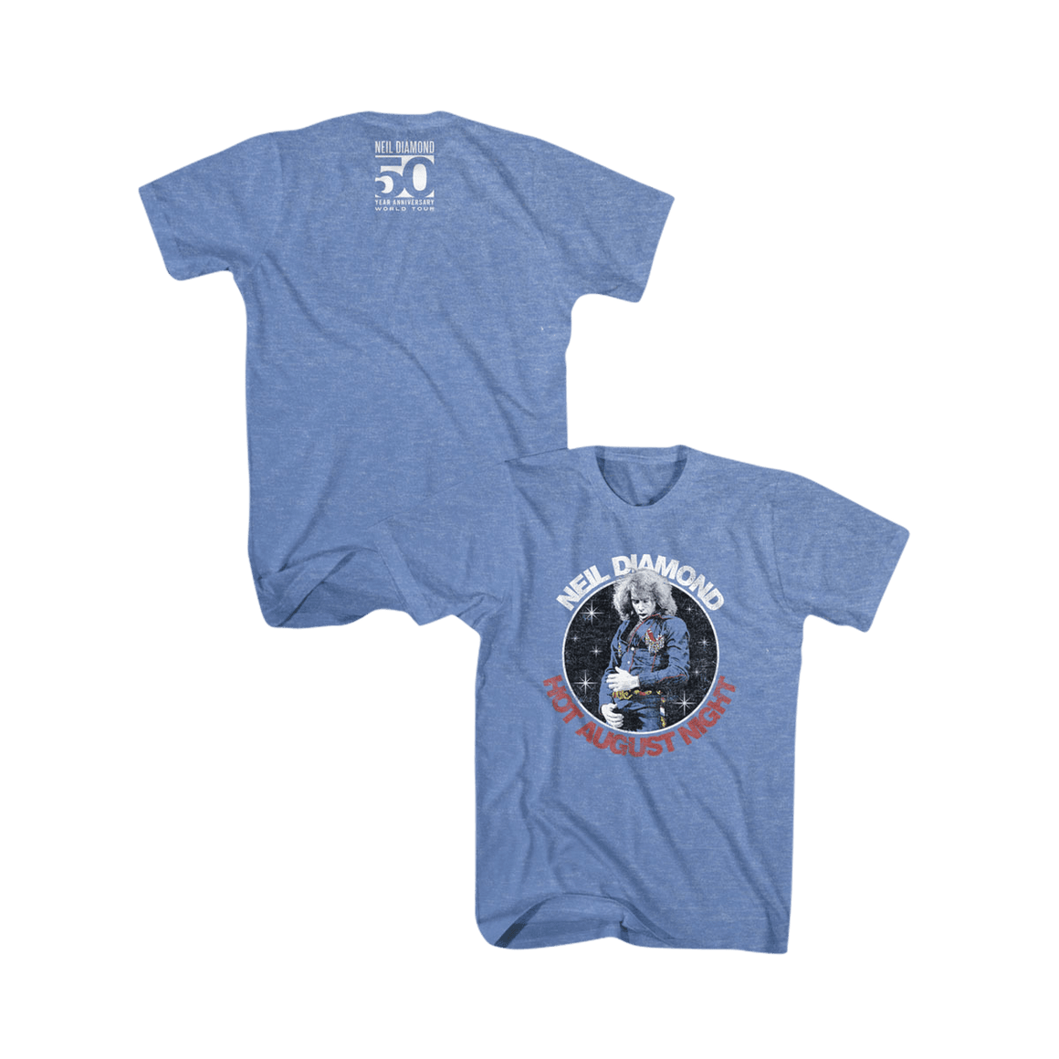 Hot August Night Tee (Heather Blue)-Neil Diamond