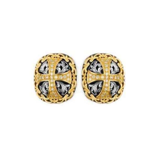 Konstantino - SS/18k YG Domed Scroll With .482CTW Diamond Cross Cufflinks