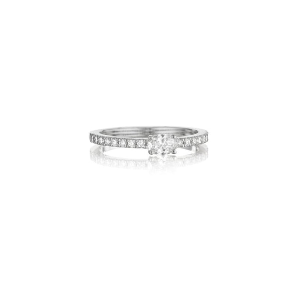 Penny Preville - 18k WG 0.50ctw Petite Oval-Cut Diamond Ring, R4670W