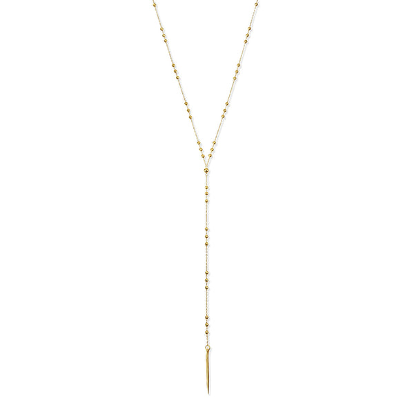 Dogeared Gold-Dipped Bead & Spear Necklace