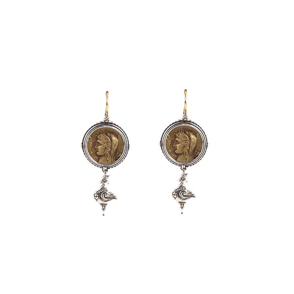 Konstantino - SS Bronze Coin Earrings, SKKJ566-300