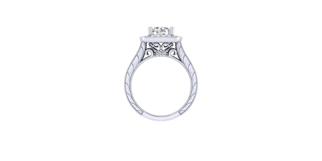 Elaine Vintage 14k White Gold Round Halo Engagement Ring